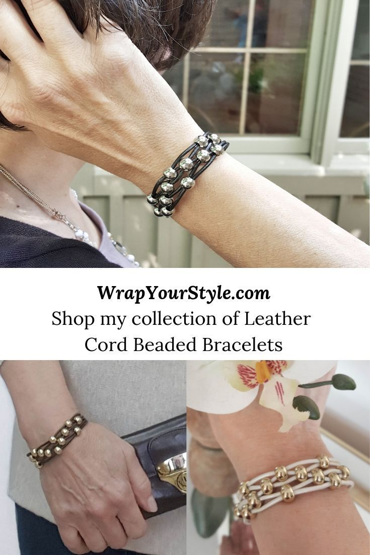 Leather Beaded Stacking Bracelets Now Have Added Styles Diy Leather Bracelet Leather Bracelets Women Leather Bracelet Tutorial