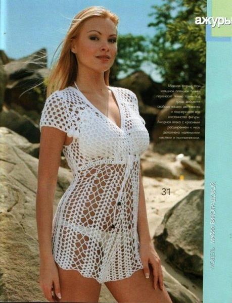 Летнее пляжное платье туника спицами
