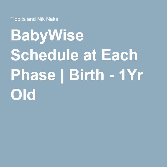 BabyWise Schedule at Each Phase | Birth - 1Yr Old