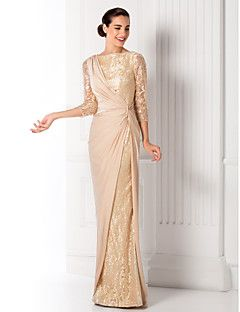 TS Couture Prom / Military Ball / Formal Evening Dress - Champagne Plus Sizes / Petite Sheath/Column Bateau Floor-length Jersey / Lace