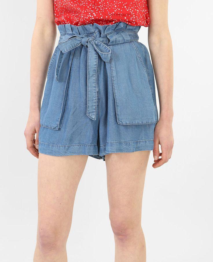 Weite Shorts mit hoher Taille Denimblau