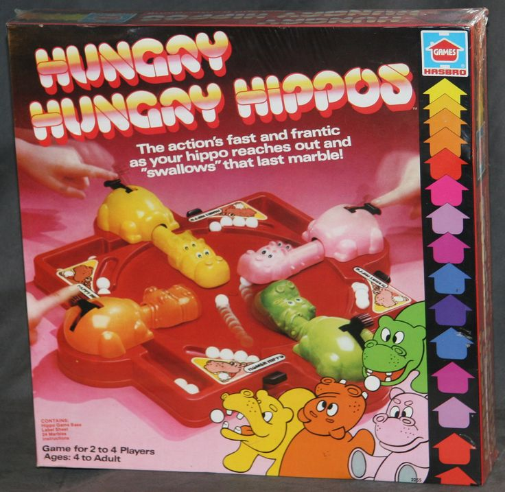 1970s 1978 Hungry Hungry Hippos game in original box MIB plastic sealed hippo hasbro Amazing find Mod arrows. $65.00, via Etsy.