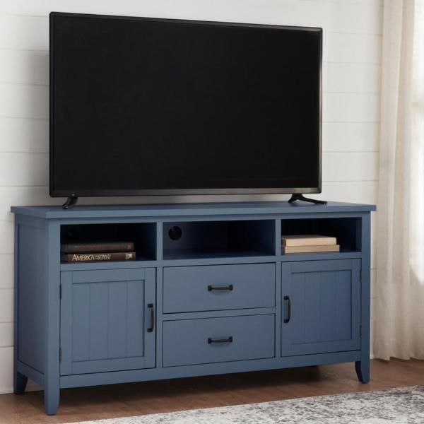 Home Decorators Collection Whitford Steel Blue Wood Tv Stand With