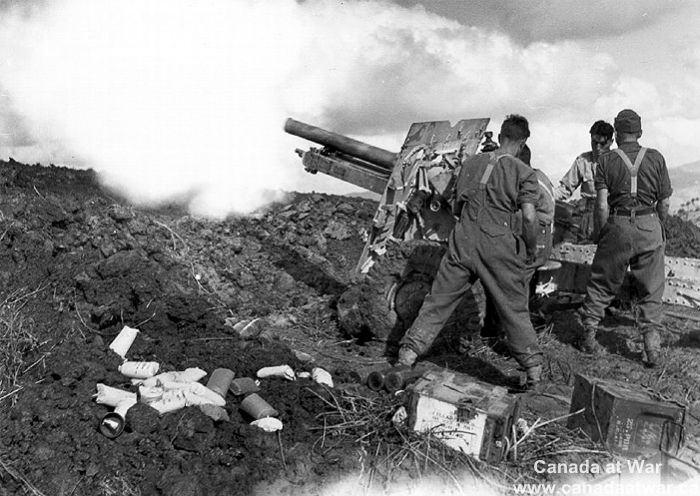 Italy (Misc.) - The Canadian artillery's ability to quickly bring down intense fire on German defensive positions was a key factor in the relative ease of the advance.