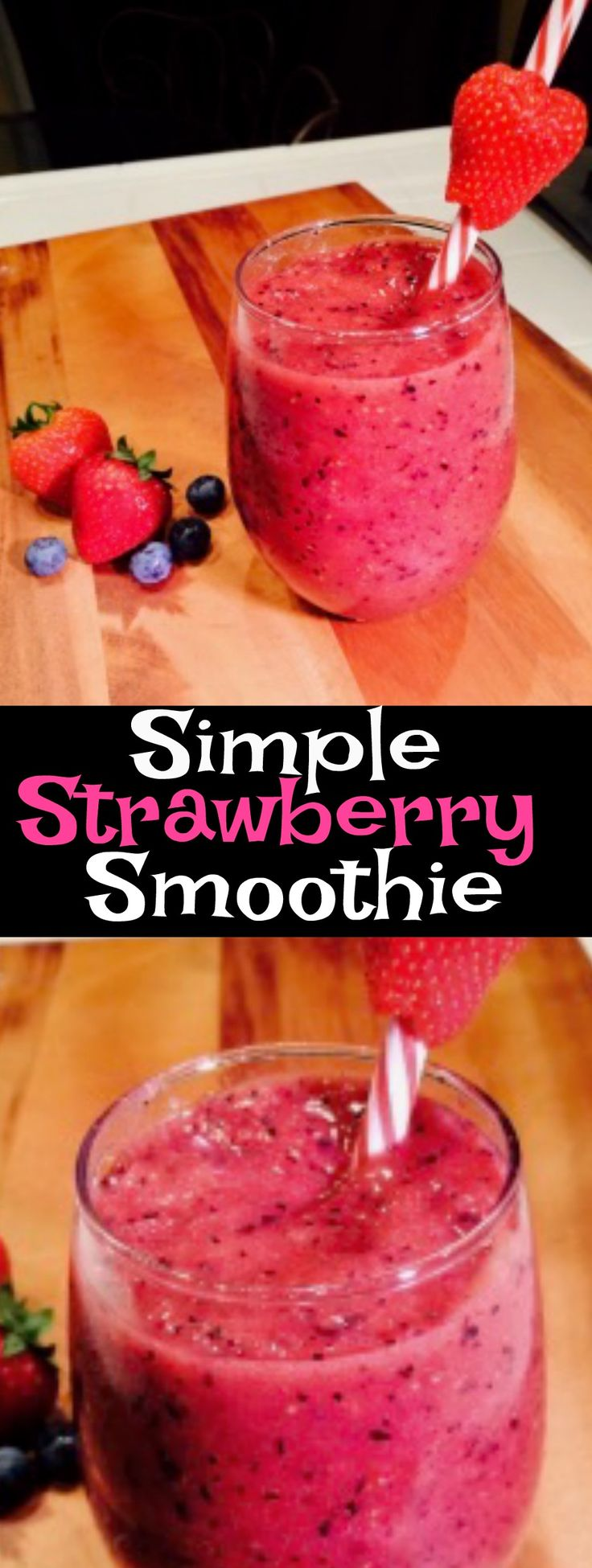 Delicious and quick strawberry smoothie recipe. #smoothie #breakfast