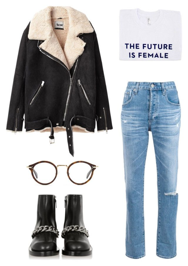 """""""Untitled #35"""" by stylebycecilia ❤ liked on Polyvore featuring Acne Studios, AG Adriano Goldschmied, Otherwild, Givenchy and CÉLINE"""