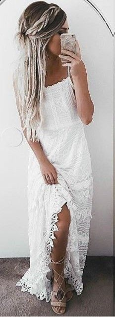 #summer #lulus #fashion | White Lace Maxi Dress