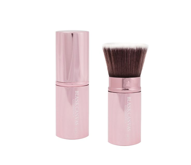 The LARGE retractable version of the F20, available in GLOSSY BLACK or METALLIC BABY PINK! It is ideal for your handbag due to it's size and easy storage. Perfect for travel and girls on the go!  It's large flat shaped head is perfect for foundation/powder or bronzer application. Simply tilt the lid as you close your retractable and pop into your bag!