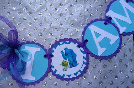 Monsters Inc High Chair Banner Monsters inc by MerryMakersPapier, $14.00