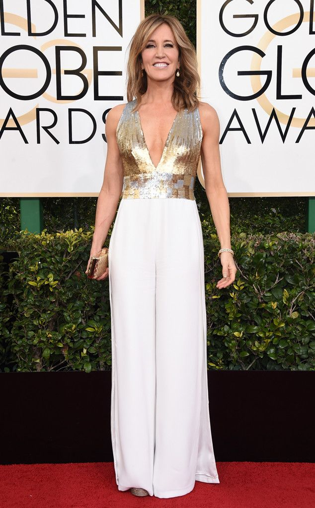 Felicity Huffman from 2017 Golden Globes Red Carpet Arrivals - Gorgeous hair and makeup and I LOVE a jumpsuit at an awards show!