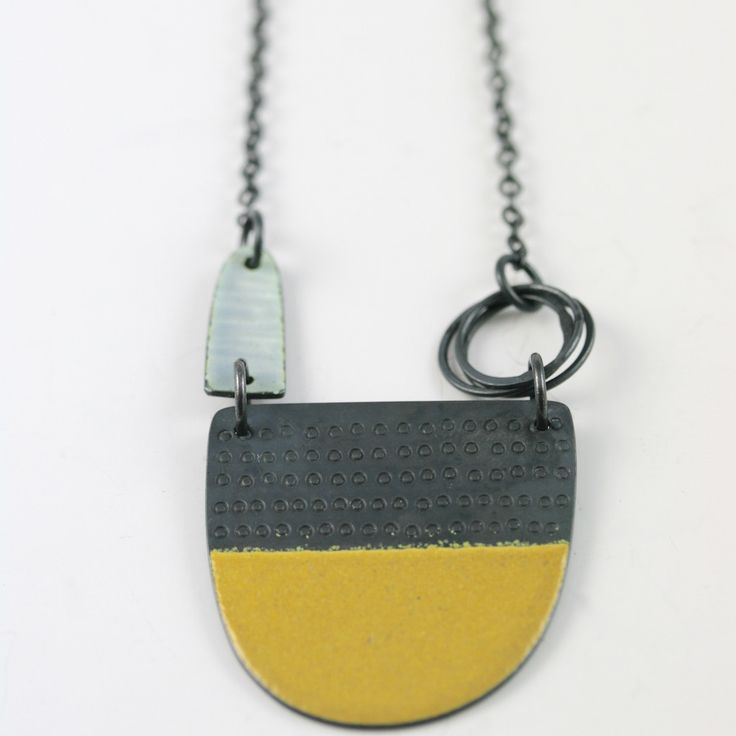 Tidal series neckpiece in mustard yellow | Contemporary Necklaces / Pendants by contemporary jewellery designer caroline finlay