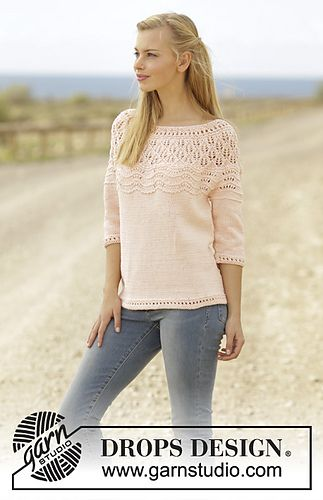 Knitted jumper with lace pattern, wave pattern and round yoke in DROPS Muskat. Size: S - XXXL.