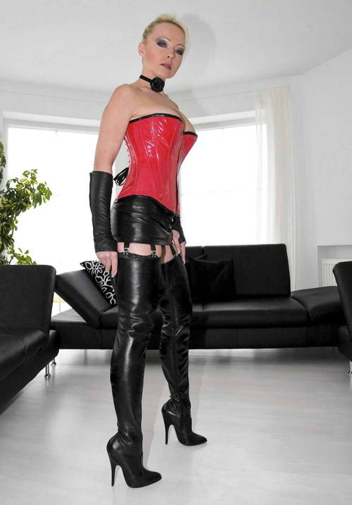 Milf leather lingerie heels excellent