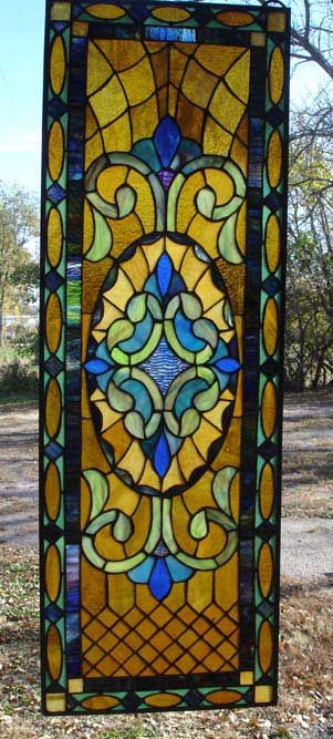 "Quilted Victorian stained glass sidelight window panel 12 5/16""W x 36 3/16""L"