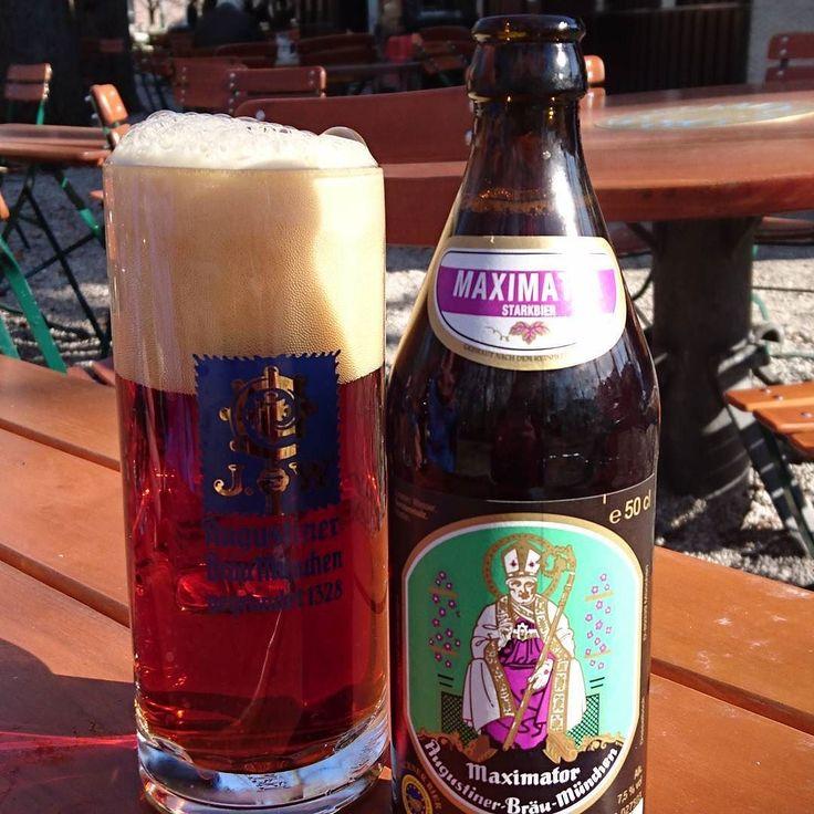 Maximator - mit für Augustiner ungewohnt modernem Etikett. Prost!  #augustiner #maximator #biergarten #münchen #beers #alkoblogger #starkbier