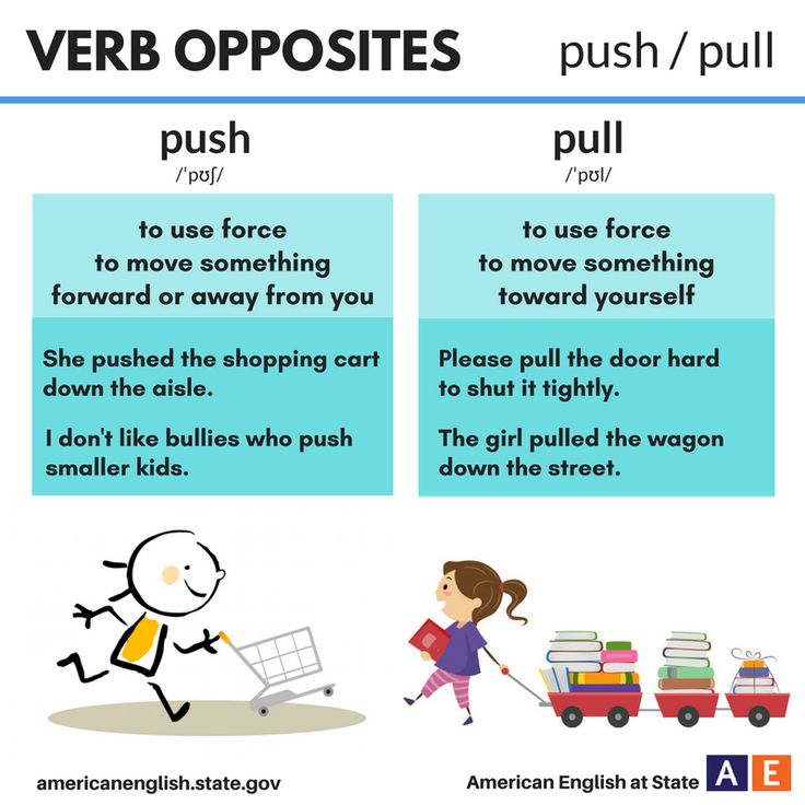 Verb opposites push pull english language esl efl for Pull it off definition
