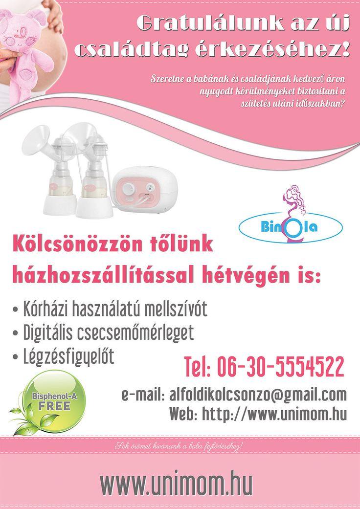 BinOla mellszívó kölcsönző kórházi plakátja