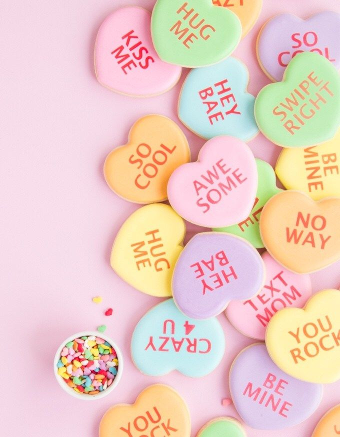 Conversation Heart Cookies The Sprinkle Factory Conversation Heart Cookies Heart Cookies Conversation Hearts Candy