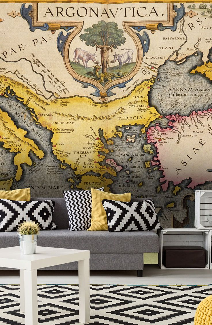 29 best stunning map wall murals images on pinterest map map of the voyage of the argonauts from the theatrum orbis terrarum 1603 coloured engraving wall mural