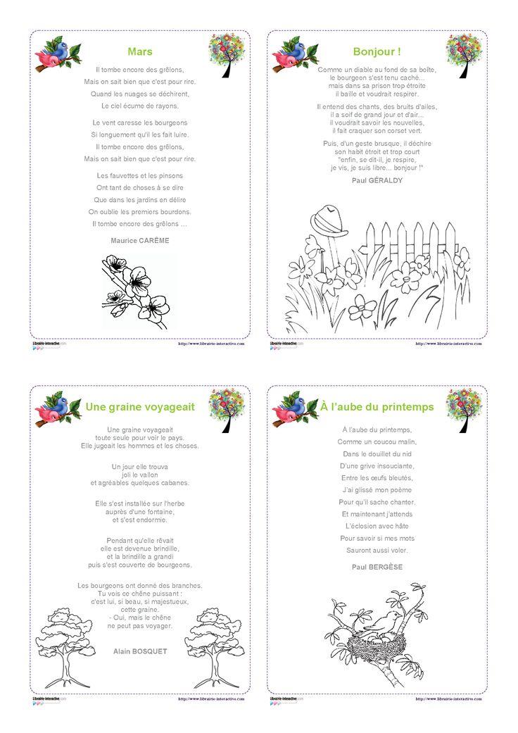 12 po�sies illustr�es sur le th�me du printemps, pour les �l�ves de cycle 2 et de cycle 3.
