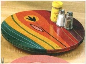 Custom Made Colorful Lazy Susan, Hand Painted by Artist. review at Kaboodle