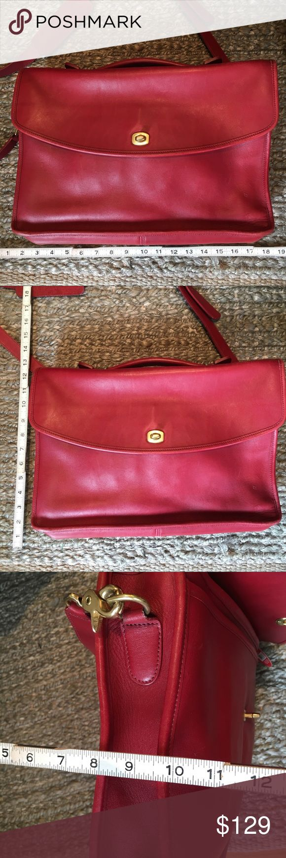 Vintage Red Leather Coach Briefalcase Attaché Rare Red Leather Coach Briefcase/Messenger/Laptop bag in great condition.  There is some wear on the bottom edges and handle.  Please see pictures for details.  No F23-5265 Coach Bags Laptop Bags