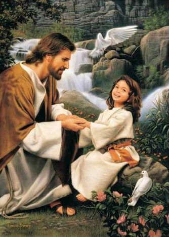 "Christ and a happy girl.  ""Of Such Is The Kingdom Of God"" by Simon Dewey"