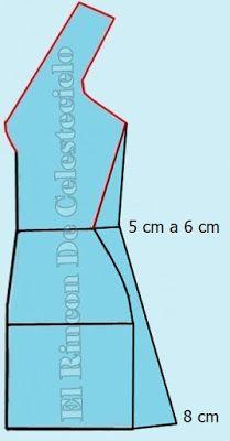Ampliando costado delantero de blusa larga o vestido para fruncir