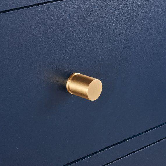 Modern Brushed Brass Gold Hexagonal T Bar Cupboard Door Pull Handle Cabinet Knob
