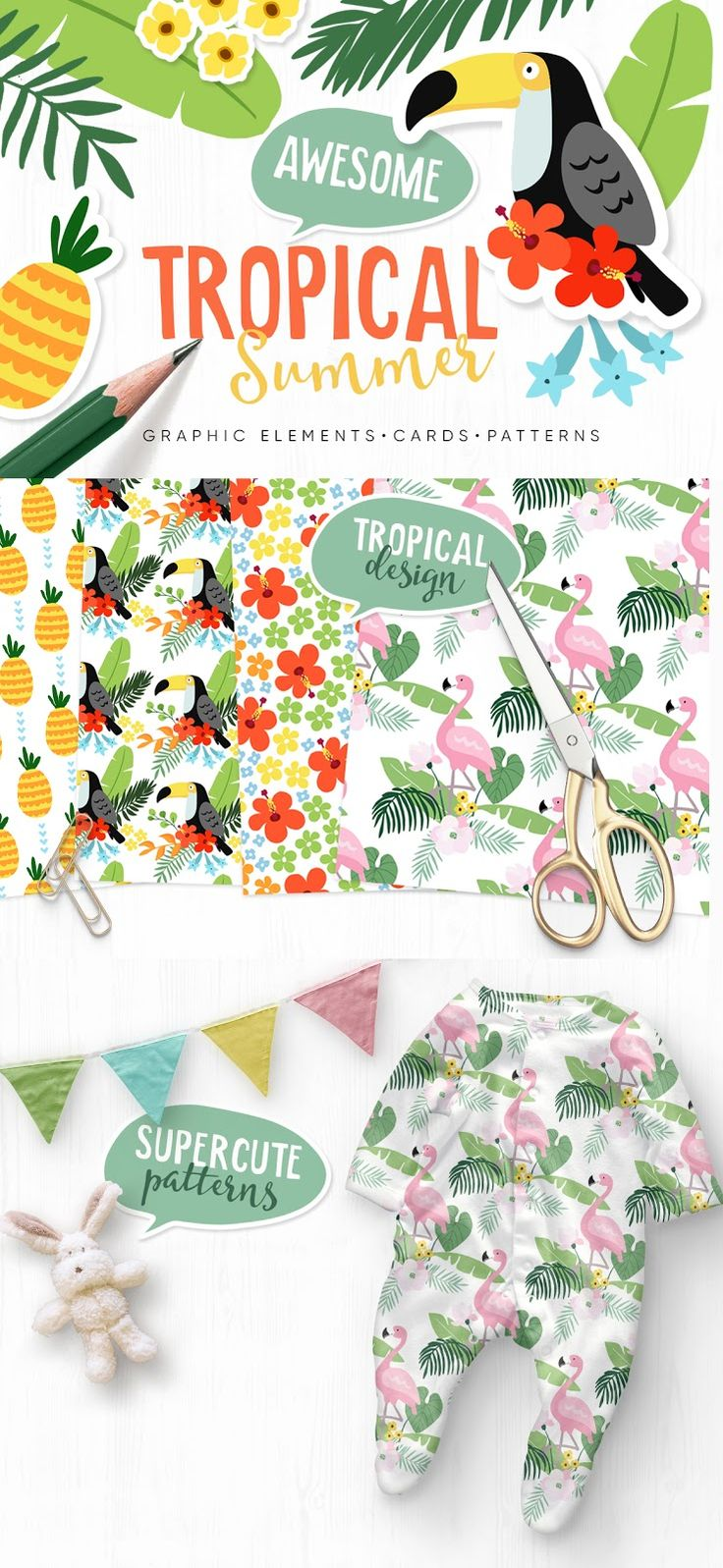 I have just finished a Tropical Summer Set – the trendy tropical & jungle graphic collection. I hope that these cute hand-drawn graphic elements, seamless patterns, and cards would be ideal for decoration of your blog, holiday projects, greeting cards, invitations, tags, presentations, handmade crafts or scrapbooking. Get ready for Summer! Contains illuistrations of palm leaves, toucan, flamingo, pineapple.