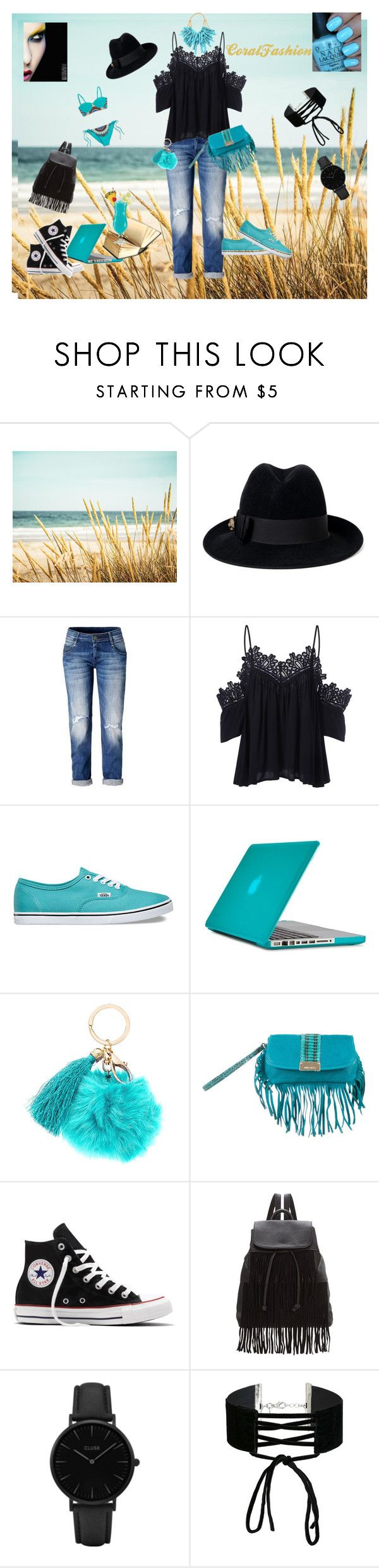 """""""Aqua"""" by laura-rusu-i on Polyvore featuring Gucci, Vans, Speck, Jimmy Choo, Converse, Glamorous, CLUSE, Miss Selfridge and OPI"""