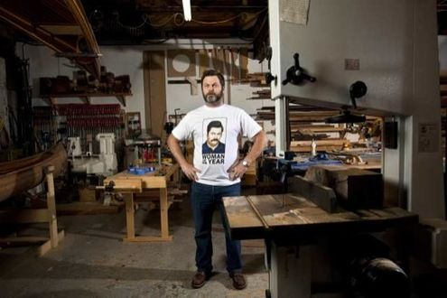 the Offerman Woodshop is as cool as you'd think it would be.
