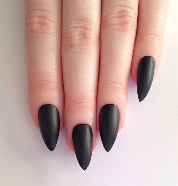 Matte black stiletto nails Nail designs Nail by prettylittlepolish
