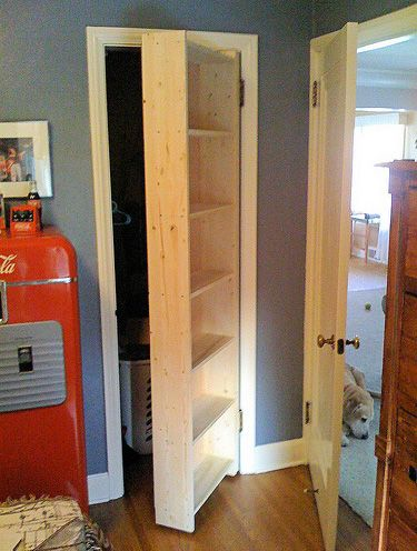 Turn closet door into shelves to extend your storage space. Definitely on the other side of the door though!