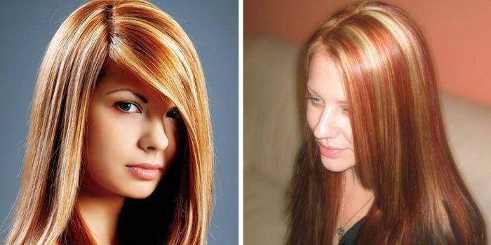 Светлые пряди на рыжих волос