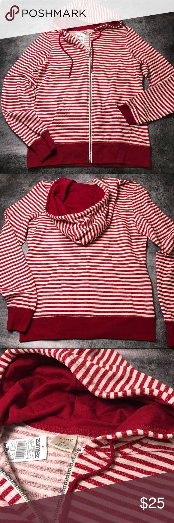 NEW Striped Zip-up Hoodie •NEW •Striped in red and white •Medium weight Zumiez Tops Sweatshirts & Hoodies