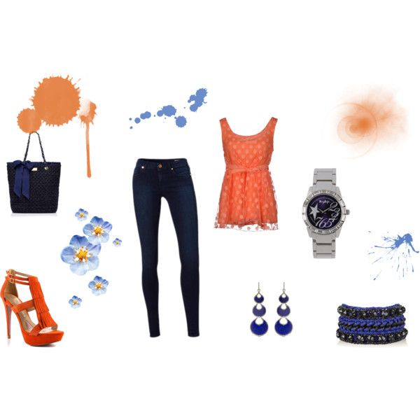 """""""Orange and Blue day"""" by balsamoirene on Polyvore"""