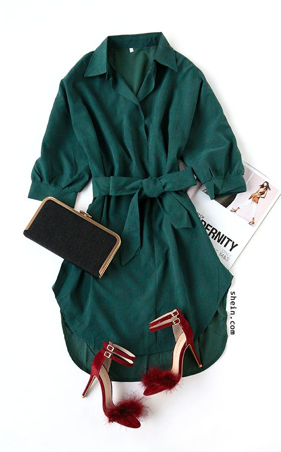 Fall chic look-Green self tie shirt dress outfit.