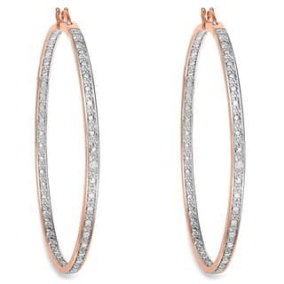 Angara Overlapping Diamond Accent J-Hoop Earrings