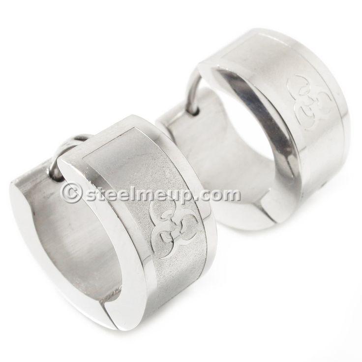 Pair Stainless Steel Silver Etched Biohazard Symbol Hoop Earrings 7mm