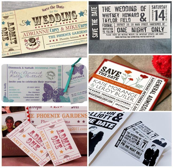 """Exemplos de convites de casamento originais """"tickets"""" para o seu casamento!"""