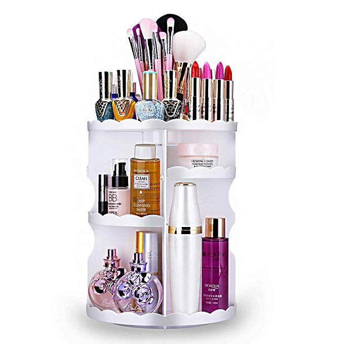 Aspior Makeup Cosmetics Organizer 360 Spinning Bathroom Storage