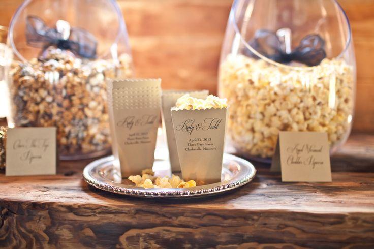 Wedding Popcorn Bar | On SMP: http://www.stylemepretty.com/2013/11/22/glam-barn-styled-shoot-from-white-klump-photography-winners | Photography: White-Klump Photography