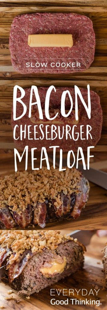 Slow Cooker Bacon Cheeseburger Meatloaf Pinterest Graphic