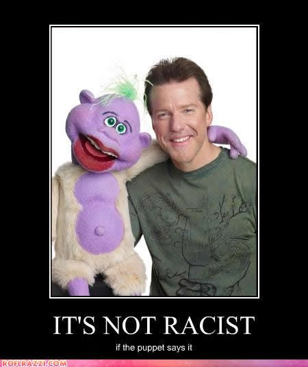 You can tell when the child in you comes out when you actually look and listen to the puppet and not the real guy next to him.