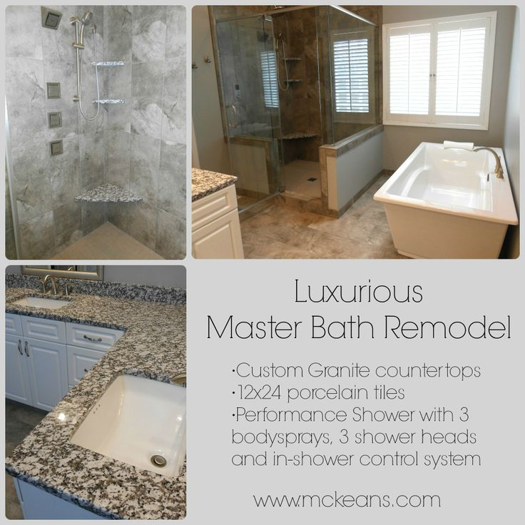 Master Bathroom Remodel -Custom Granite Countertops -12x24 Porcelain Tile On The Floor And