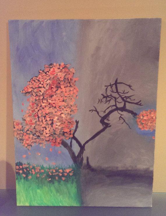 Original abstract acrylic on canvas textured tree by polarizedart