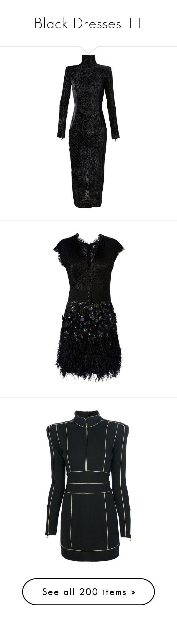 """""""Black Dresses 11"""" by kingcrimson ❤ liked on Polyvore featuring dresses, gowns, balmain, black, vestidos, velvet dress, velvet evening gown, long sleeve evening dresses, exposed zipper dress and short dresses"""
