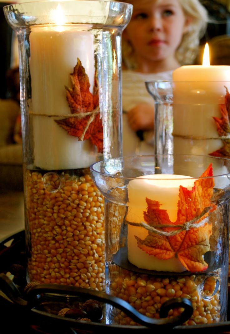 Love This Centerpiece Hurricane Vases With Corn Kernels