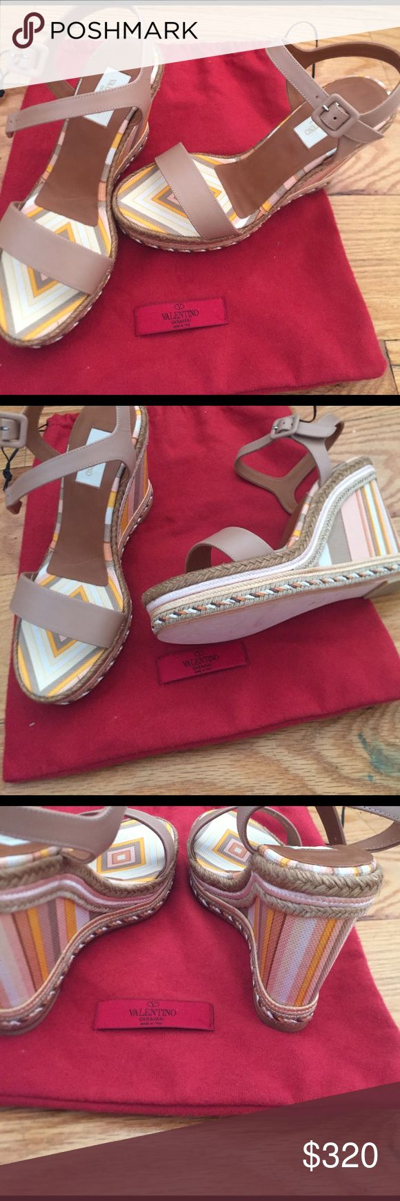 Authentic Valentino wedge heel sandals Tan leather wedge sandals. New never worn. No box or dust bag. Valentino Shoes Wedges